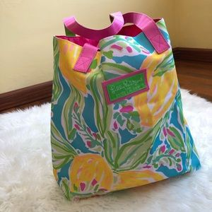 Lilly Pulitzer colorful floral tote bag